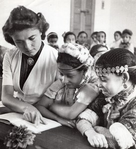 Morocco Rabat French Teacher Moroccan School Children Habous old Photo 1945