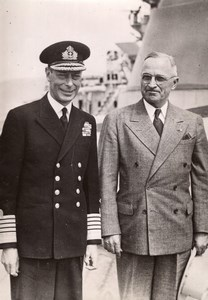 King George VI Harry Truman on Battlecruiser HMS Renown Press Photo August 1945