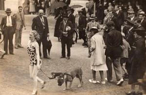 Paris Champs Elysees Venus 1935 Walks her Dog & Monkey old Meurisse Photo