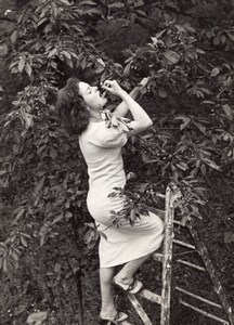 Le Temps des cerises Young woman on Ladder eating Cherries Meurisse Photo 1930's