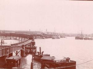 Angleterre Portsmouth le Port Bateaux Ancienne Photo Amateur 1900