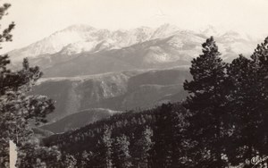 Colorado Pikes Peak over Ute Pass old Sanborn RPPC Photo 1940 ?