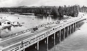 USA Wyoming Yellowstone River Fishing Bridge old Haynes RPPC Photo 1940