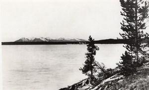 USA Wyoming Yellowstone Lake Sheridan Mountain old Haynes RPPC Photo 1940 ?