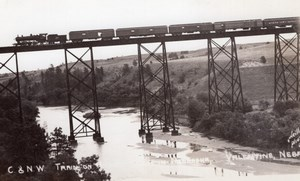 Nebraska Valentine Chicago & North Western Railroad bridge Train RPPC Photo 1940
