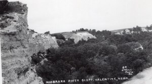 Nebraska Valentine Niobrara River Bluff old O'Neill RPPC Photo 1940