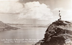 Washington Lake Franklin Roosevelt Grand Coulee Dam old RPPC Photo 1947