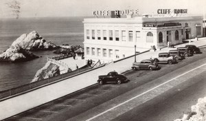 San Francisco Cliff House & Seal Rocks Automobiles old RPPC Photo 1946