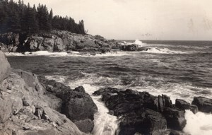 Acadia National Park Mount Desert Island Little Hunters Beach RPPC Photo 1949