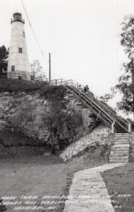 Missouri Hannibal Mark Twain Memorial Lighthouse old RPPC Photo 1949