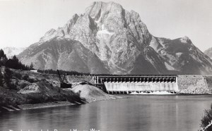 Wyoming Moran Jackson Lake Dam Mountain old RPPC Photo 1940