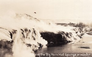 Wyoming Thermopolis Big Horn Hot Springs en Hiver Ancienne Carte Photo AZO 1920's
