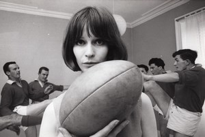 Top Fashion Model Clemence Bettany & Clarkston Rugby Team old Photo 1965