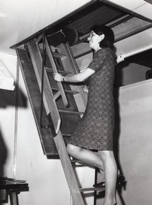 Young Woman Actress? On a Loft Ladder Stairs old Press Photo circa 1970
