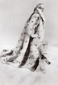 USA 1960's Women Fashion Lou Nierenberg Faux Fur Lynx Coat Model & Dog old Photo