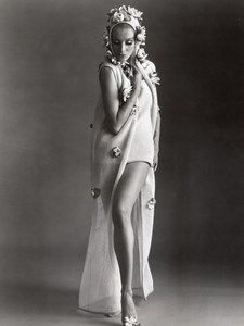 USA 1960's Women Fashion Nina Ricci Beach Ensemble Celanese Knit old Photo