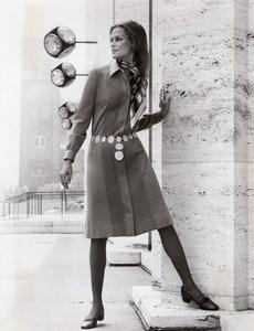 USA 1960's Women Fashion Adele Martin Shirt Dress old Photo
