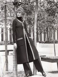 USA 1960's Women Fashion Adele Martin Double knit Coat Wool old Photo