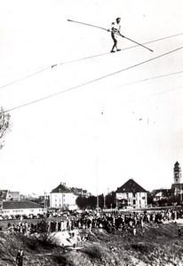 Belgium? Tightrope walker Funambulist Town fair old Press Photo 1940's
