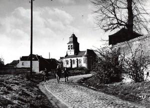 Belgium ? Countryside Village Church Children old Press Photo 1940's