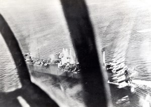 WWII Italian Tanker Bombarded by American Bombers old Photo 1943