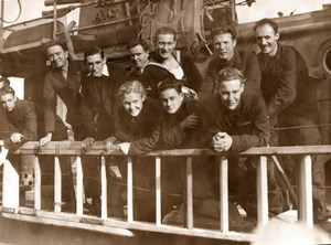 WWII Sailor Group on Torpedoed Allied Vessel ? Old Photo 1943
