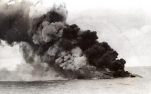 WWII Italian Ship sinking in Flames? Smoke old Photo 1941