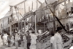 WWII Burma Rangoon Street Ruins Japanese Air Raid Old Photo 1942
