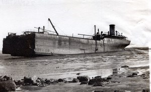 WWII Scotland Beached British Tanker MV Imperial Transport old Photo 1940