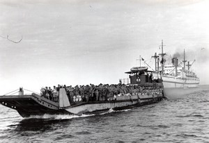 Egypt Suez Canal Zone British Airmen on Z Landing Craft Empire Medway Photo 1951