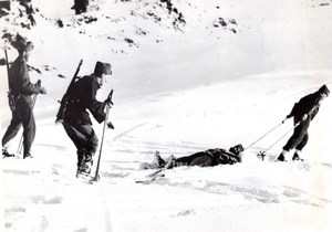 WWII Swiss Army Military Maneuvers in Snowy Mountain old Photo 1939
