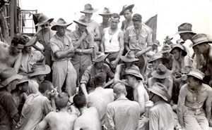 WWII Los Negros Island Australian RAAF Soldiers Medical Hygiene Talk Photo 1944