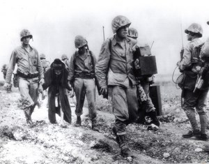Japan Okinawa American Marines protecting elderly Civilian old Photo 1945