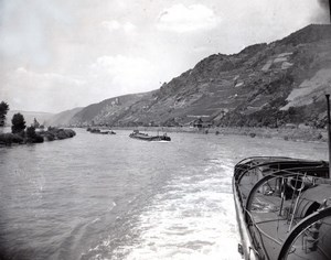 Germany? Boat Convoy on the Rhine River old Press Photo 1948