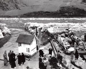 Germany Oberwesel Floods Ice Damaged Landing Bridge old Photo 1956