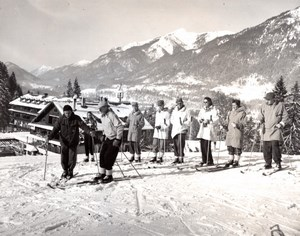 Germany Garmisch Army Officers Ski Mountain old Photo 1953
