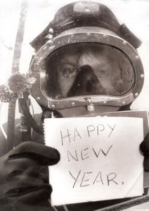USA? Underwater Diver Happy New Year Greeting old Photo 1974