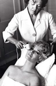 British? Actress? Personality having Face Massage old ABC Studio Photo 1960's?