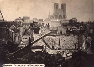 France Ruines de Reims et la Cathedrale WWI Ancienne Photo 1914-1918