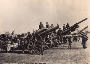 Canons Allemands captures par les Anglais WWI Ancienne Photo 1914-1918