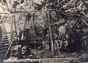 Marne Vienne le Chateau Artillerie Francaise Camouflage WWI Ancienne Photo 1914-1918