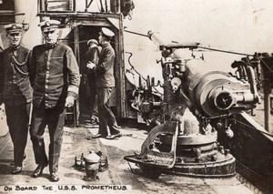 A bord du USS Prometheus Navire Militaire WWI Ancienne Photo 1914-1918