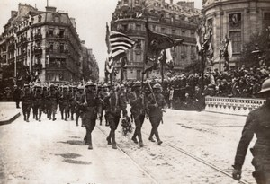 Independence Day Defile Americain a Paris WWI Ancienne Photo 4 Juillet 1918