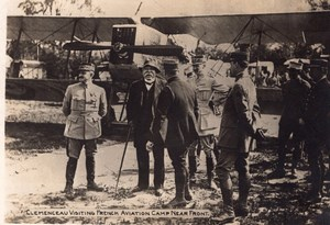 Clemenceau visiting French Aviation Camp near Front WWI old Photo 1914-1918