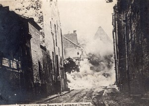 Cambrai Explosion d'une Bombe a Retardement WWI Ancienne Photo 1914-1918