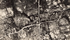 2 Aerial Views Before & After Bombardment WWI old Photo 1914-1918