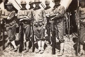 Soldats Americains au Campement Fusils WWI Ancienne Photo 1914-1918