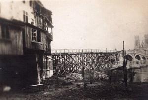 Pont a Mousson Eglise Saint Martin et Pont Temporaire WWI Ancienne Photo 1914-1918