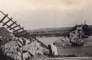 Remains of RR Bridge over Marne near Chateau Thierry WWI old Photo 1914-1918