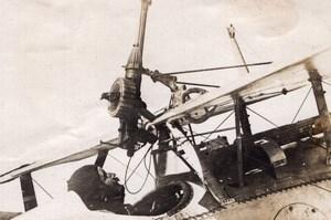 Machine Gun on Nieuport Chasse Plane Military Aviation WWI old Photo 1914-1918